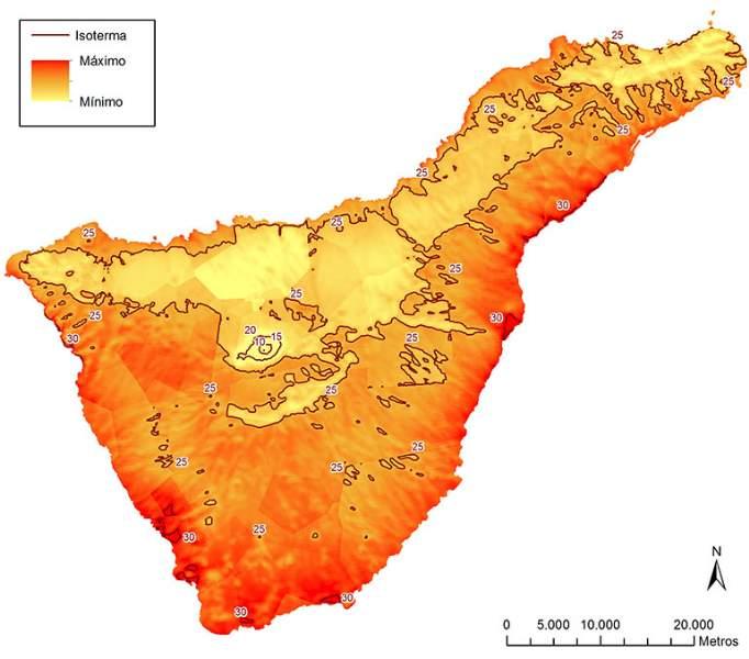 cartina isola tenerife con temperature